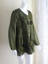 RAAGA O/S S M L Funky Green Boho Hippie Rayon Romantic Tunic Shirt Top