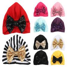 2 PCS Baby Toddler Girls Shiny Sequin Bowknot Turban Hat Elastic  Beanie Cap