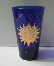 "Vintage Culver Celestial 22k Gold Cobalt Moon/Sun Glass 5-7/8"" Tall"
