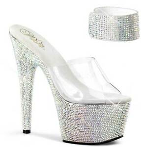 Pleaser Ice Bling Ankle Cuffs W/ Rhinestone Platform Mules High Heels Shoe Women