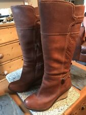 """Ladies 18"""" High Timberland Conker Leather Boots.Size 8.EU 41.5."""