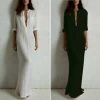 Summer Beach Women Long Maxi Dress Buttons V Neck Ethnic Party Shirt Dress Plus