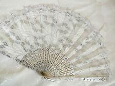 Fiore Argento Spagnolo Pizzo Bianco Ventaglio Fancy Danza Nuziale Festa Nuziale Donna