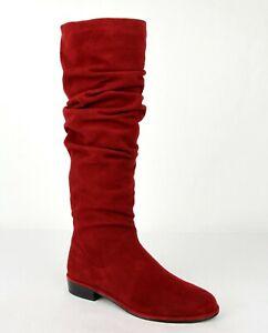 $775 Stuart Weitzman Women's Flatscrunchy Scarlet Red Suede Knee High Boots