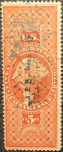 Scott #R89 US 1862 5 Dollar Revenue Conveyance Stamp