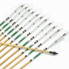 """AF 12pcs 31"""" wood arrows White Turkey feathers for hunting recurve bow long bow"""