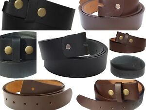 QHA Mens Snap On Belt Strap Genuine Full Grain Leather Casual Designer No Buckle