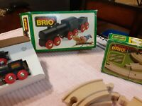 Vintage Brio Wooden Train Engine Black Steam w Coal Tender#33414 & 4 track piece