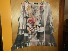 Italian High Low FLORAL Lagenlook Tunic Top Dress PINK fit 16 18 20 22 24 26+