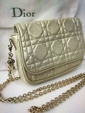 BNWT LADY DIOR SMALL GOLD METALLIC POCHETTE/CLUTCH EVENING BAG CHAIN/DIOR CHARMS