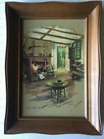 """Vintage Paul Porter Art Print """"Home by the Hearth"""", 8"""" x 12"""" (Image), Framed"""