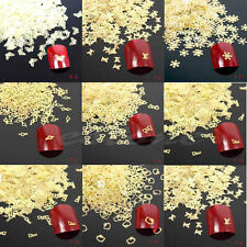 New 100Pcs 3D Metal DIY Nail Art Tips Stickers Decal Golden Slices Decoration