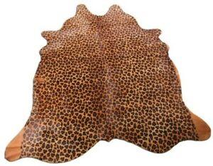 Leopard Print Cowhide Rug Size: 7.3' X 6.3' Beige/Black Print Cow Hide Rug O-917