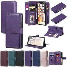 10 Card Slots Wallet Flip Antislip Classic Leather Case Cover For Various Phone