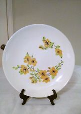 "Vintage 12.5"" white plate with yellow flowers and green leaves marked USA"