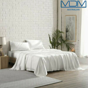 Lyocell Tencel Cooling Bedsheets Ultra Soft Breathable Queen Flat Sheet White
