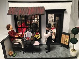 Artist Carol Hylton Miniature Dollhouse Diorama Room Box Italian Bistro Café