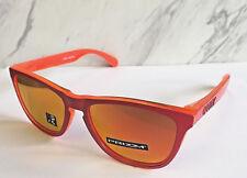 """Nuevo Oakley Frogskins Gafas de Sol cm Mangos"""" Mate Rojo / Prizm Rubí Lentes"""