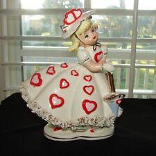 MINT Vintage RELPO VALENTINE PLANTER Girl February Heart Vase w Umbrella