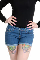 LADIES WOMENS RETRO VINTAGE NEW BLUE STRETCH DENIM HOT PANTS SIZES 6 8 10 12