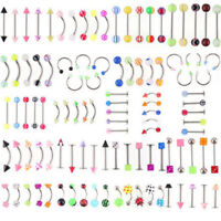 105Pcs Wholesale Bulk lots Body Piercing Eyebrow Jewelry Belly Tongue  Bar-Ring.