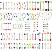 105Pcs Wholesale Bulk lots Body Piercing Eyebrow Jewelry Belly Tongue  Bar  NMUS