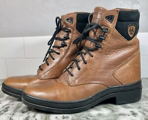 Ariat ATS Women's Size 7 Brown Leather Lace Up Flannel Lined Boots. EUC