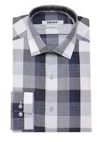DKNY Night Blue & Gray Plaid Cotton Dress Shirt