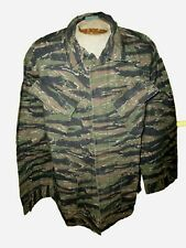 VIETNAM ASIAN TIGER STRIPE SLANT POCKET BDU CAMOUFLAGE FATIGUE SHIRT SIZE LARGE
