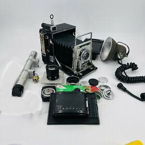 "Graflex Speed Graphic 4x5 Camera w/ Many Accessories ""23"" 120 Flashes"