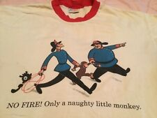 Vintage 90s Curious George 1995 Ringer T-shirt Size L naughty monkey 2 sided