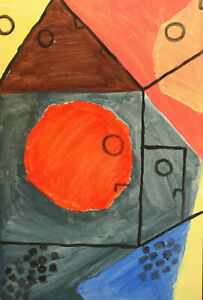 Vintage abstract cubist watercolor painting