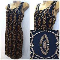 EX GEORGE EMBELLISHED DRESS SHIFT TUNIC BLACK GOLD SEQUIN BEADED LBD SIZE 8 - 20