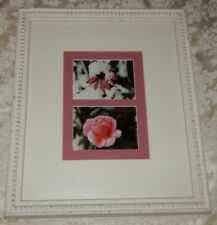 Vtg White Wood Beaded Picture Frame w/Floral Photo Print Yellow & Pink 16 x 14