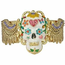 NEW KIRKS FOLLY SUGAR SKULL DREAMS CUFF BRACELET  GOLDTONE