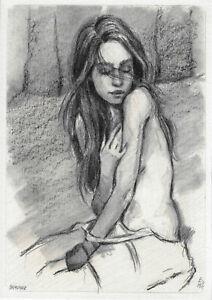 original drawing A5 365VE art samovar pastel Modern female nude sketch Signed
