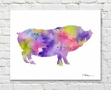 Pot Bellied Pig Contemporary Watercolor Abstract Farm Animal ART Print