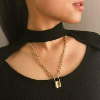 Retro Geometric Ornaments Sweater Chain Lock Shaped Pendant Necklace K1Y1