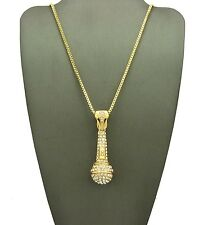"""New Iced Out MIC Microphone Pendant & 24"""" Box Chain Hip Hop Necklace - XZP136BXG"""