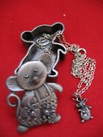 Vintage TORINO PEWTER JEWELRY MOUSE Set BROOCH PIN EARRING Pendant NECKLACE BOX