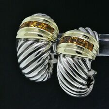 Vintage Yurman Sterling/Gold Yellow Citrine Renaissance Cable Shrimp Earrings
