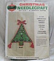 "Vintage Bucilla Christmas Needlecraft Kit Jeweled Tree Holiday Chimes 13"" Long"