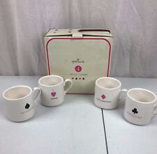 Hallmark Playing Card Suit Set Of 4 Mugs Collectible Clubs Hearts Spades Diamond