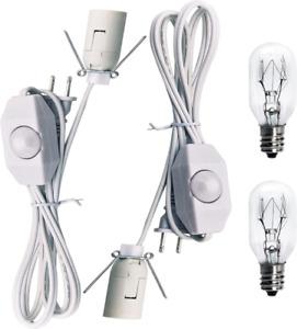 Haraqi Original Replacement White Cords with Bulbs for Himalayan Salt Rock Lamp