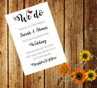 Personalised Handmade Wedding Invitations Invites Day Evening x 50 AWI11