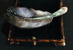 Vintage Style Jewellery Mother of Pearl Art Deco Feather Brooch