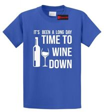 Long Day Time To Wine Down Funny T Shirt Alcohol Party Wife Gift Tee S-5XL