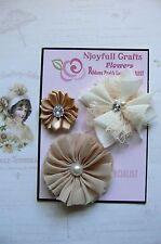 HANDMADE 3 Flower Mix CHAMPAGNE CREAM Satin Organza 35, 65 & 70mm NjoyfullCrafts