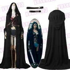 2017 DC Wonder Woman Diana Black Cloak Halloween Cosplay Costume Cape Mantle
