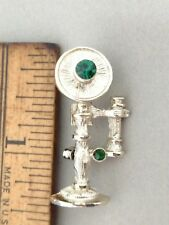 Vintage Silver Tone & Green Stones GERRY's Antique-Style Phone Pin Brooch